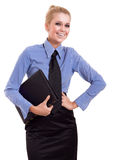 Blond businesswoman with black folder Royalty Free Stock Photography