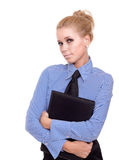Blond businesswoman with black folder Stock Photography