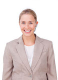 A blond businesswoman in communication stock images