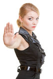Blond businesswoman with stop hand sign gesture isolated. Business. Royalty Free Stock Photography