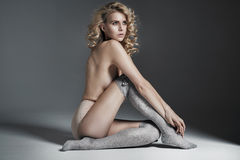 Blond calm lady wearing sensual underwear Stock Image