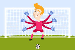 Blond cartoon goalkeeper with flailing arms waiting for penalty kick Royalty Free Stock Photos