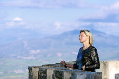 Blond on castle tower Royalty Free Stock Photo