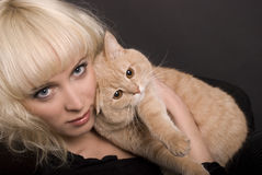 Blond and Cat Stock Photos