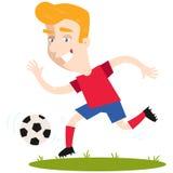 Blond caucasian cartoon football goal scorer running and kicking ball Royalty Free Stock Image