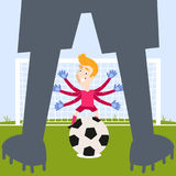 Blond caucasian cartoon goalkeeper with flailing arms waiting for penalty kick Stock Photography