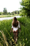 Blond Caucasian Woman Outdoor Standing White Leotards Royalty Free Stock Photos