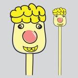 Blond chłopiec Długa szyja uśmiecha się jaskrawy kreskówka wektoru ilustrację Obrazy Stock