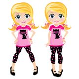 Blond Child. Illustration of a blond tween child. Sweet face. Fun outfit. Polka dots and pink outfit Royalty Free Stock Photography
