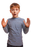 Blond child kid baby boy surprised surprise in stock image