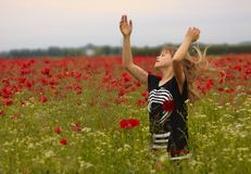 Blond Child in the Poppie Field Stock Images