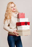 Blond christmas beauty. Royalty Free Stock Images