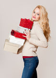 Blond christmas beauty. Royalty Free Stock Image