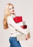 Blond christmas beauty. Stock Photo