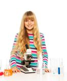 Blond clever teen girl Stock Photos