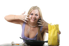 Blond Cooking Royalty Free Stock Images