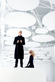 Blond Couple Classic Secret Agent And Girl Royalty Free Stock Images