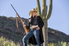 Blond cowgirl Royaltyfria Bilder