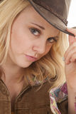 Blond cowgirl close look Royalty Free Stock Images