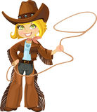 Blond cowgirl with Lasso Stock Photos