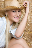 Blond Cowgirl Smiling Royalty Free Stock Images