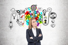 Blond crossed arms businesswoman, brainstorm Stock Images