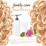 Blond curled hair care background Stock Photos