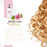 Blond curled hair care background for your text Royalty Free Stock Image