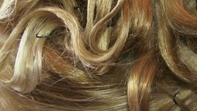 Blond Curls. Hairdo with blond curls. Close-up stock video