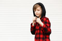 Blond cute boy royalty free stock photo