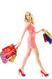 Blond cute woman on the shoping Royalty Free Stock Photography