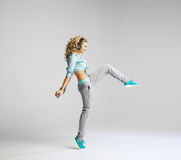 Blond dancer practicing new moves Stock Photography