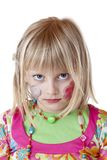 Blond disguised girl looks serious offended Stock Photos