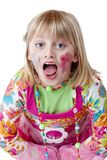 Blond disguised girl with painted cheeks cries Royalty Free Stock Photo