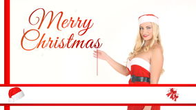 Blond dressed as Santa show christmas text stock footage