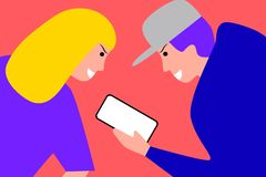 Blond dziewczyna i chłopiec z telefonem iść bawić się grę ilustracja wektor
