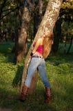 blond dziewczyna w kształcie slim Zdjęcia Stock