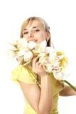 Blond dziewczyna z orchideą Obraz Stock