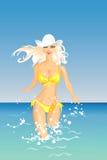 blond dziewczyny morza wektor ilustracji