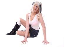 blond dziewczyny pozy seksowni siedzący potomstwa Obraz Royalty Free