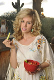 Blond Eating Healthy Snack Royalty Free Stock Photography