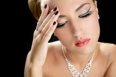 Blond elegant thinking fashion woman Royalty Free Stock Photo