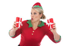 Blond elf female holding present Royalty Free Stock Images