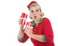 Blond elf female holding present Royalty Free Stock Photo