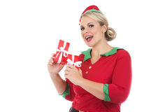 Blond elf female holding present Royalty Free Stock Photography