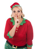 Blond elf female showing quiet sign Stock Photography