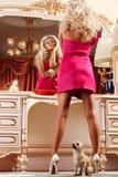 Blond en spiegel Stock Foto's