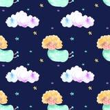 Blond engel, wolken en sterrenpatroon royalty-vrije illustratie