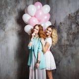 Blond et roux Deux jeunes amies avec du charme à la partie Image stock