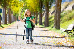 Blond explorer kid girl walking with backpack in autumn trees. Blond explorer kid girl walking with backpack hiking in autumn trees track holding stick royalty free stock images
